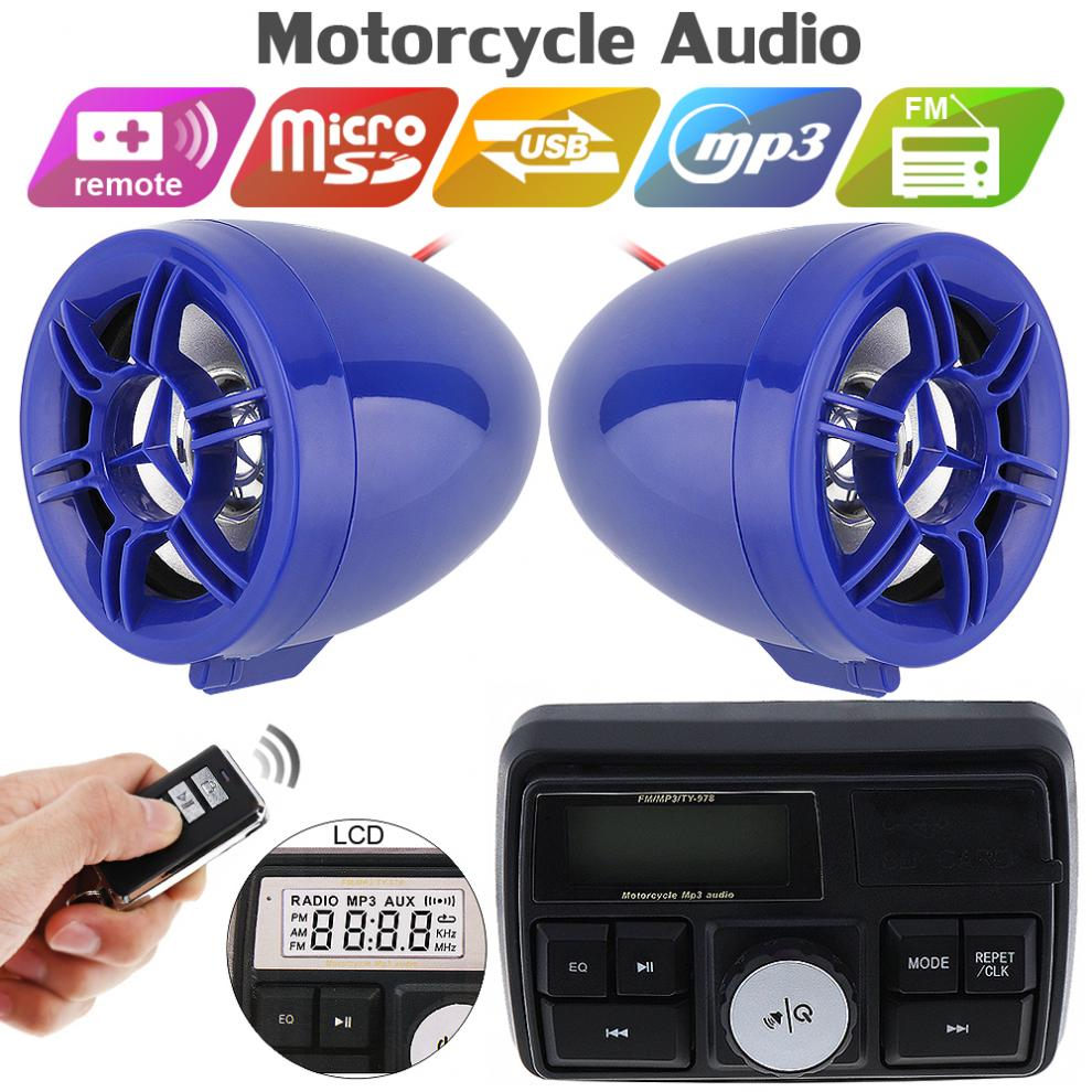12V 50W Waterproof Motorcycle Anti-theft Sound MP3 Player Speaker With Display Screen For Motorbike And Electric Vehicle