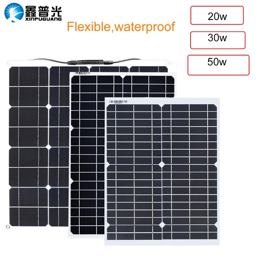 20W 30W 50w flexible solar panel kit system 16V/18V chargeur solaire DC USB for Battery Phone Charger Home Hiking camping image