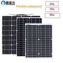 20W 30W  50w flexible solar panel kit system 16V/18V chargeur solaire DC USB for Battery Phone Charger Home Hiking camping