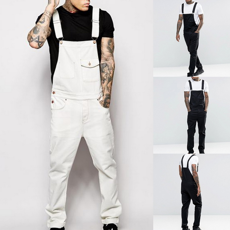 Adisputent Men Casual Loose Fit Pants Cargo Bib Overalls Multi Pocket Trousers Jumpsuits Male Spring Autumn Solid Slim Fit