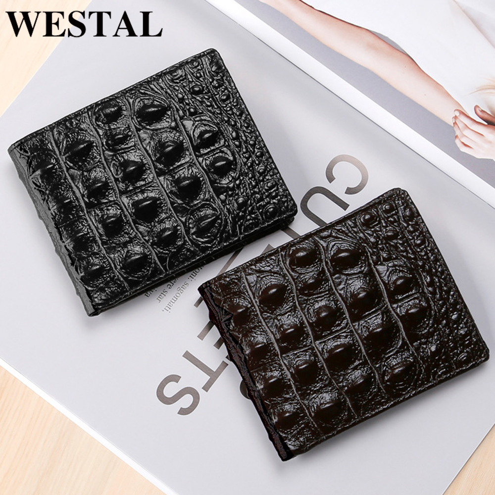 WESTAL Men's Wallet Genuine Leather Purse For Men Credit Card Holder Vintage ALLIGATOR Pattern Clutch Male Money Bag Male Purse