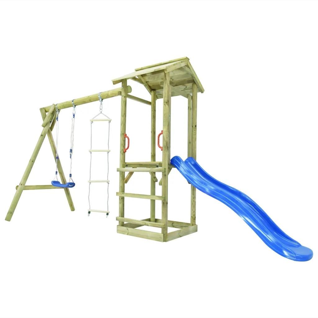 VidaXL Playhouse Set With Ladder Slide Swing 400x150x220 Cm FSC Wood 275433