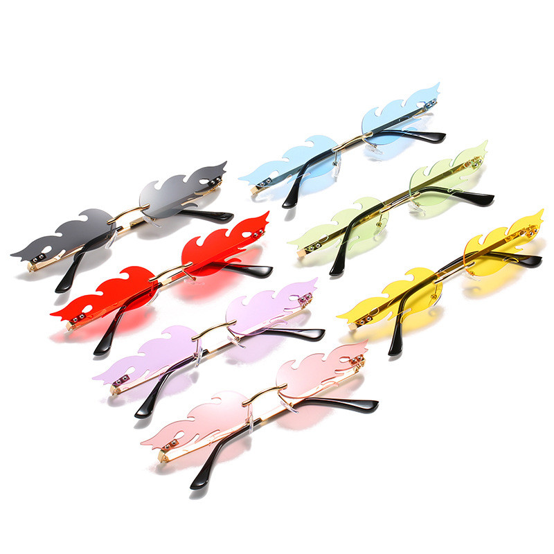 Eye-Glasses Outdoor-Accessory Cycling Wave Fire-Flame Retro Vintage Narrow Uv-400-Streetwear