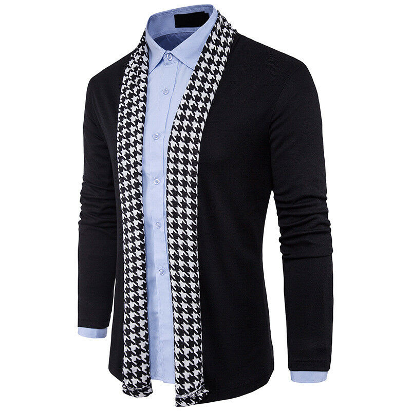 Fashion Men Knitted Cardigan Jacket Slim Long Sleeve Casual Sweater Coat Stylish