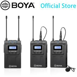 BOYA UHF Dual-Channel Lavalier Wireless Microphone System with LCD Screen for iPhone 11 10 X 8 Canon Nikon DSLR Camera Camcorder