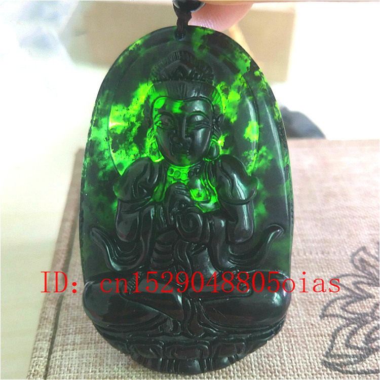 Pendant Necklace Jadeite-Jewelry Hetian-Stone Carved Jade Buddha Natural-Black Chinese title=