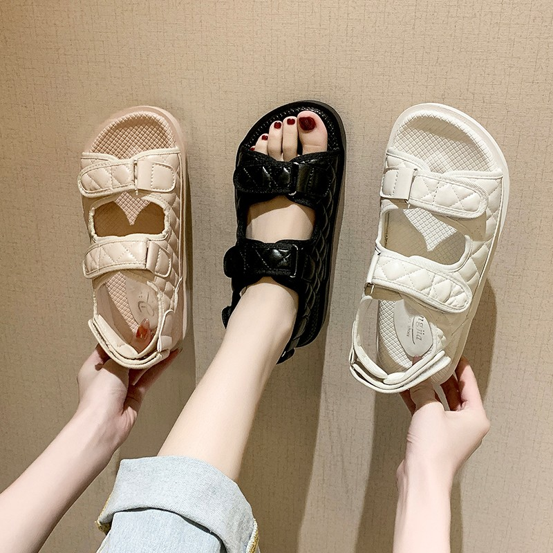 Trends Sandals Summer New Flat British Wind Velcro Embroidery Thick soled Casual Casual Roman Fragrance Designer Shoes Star Women's Sandals  - AliExpress