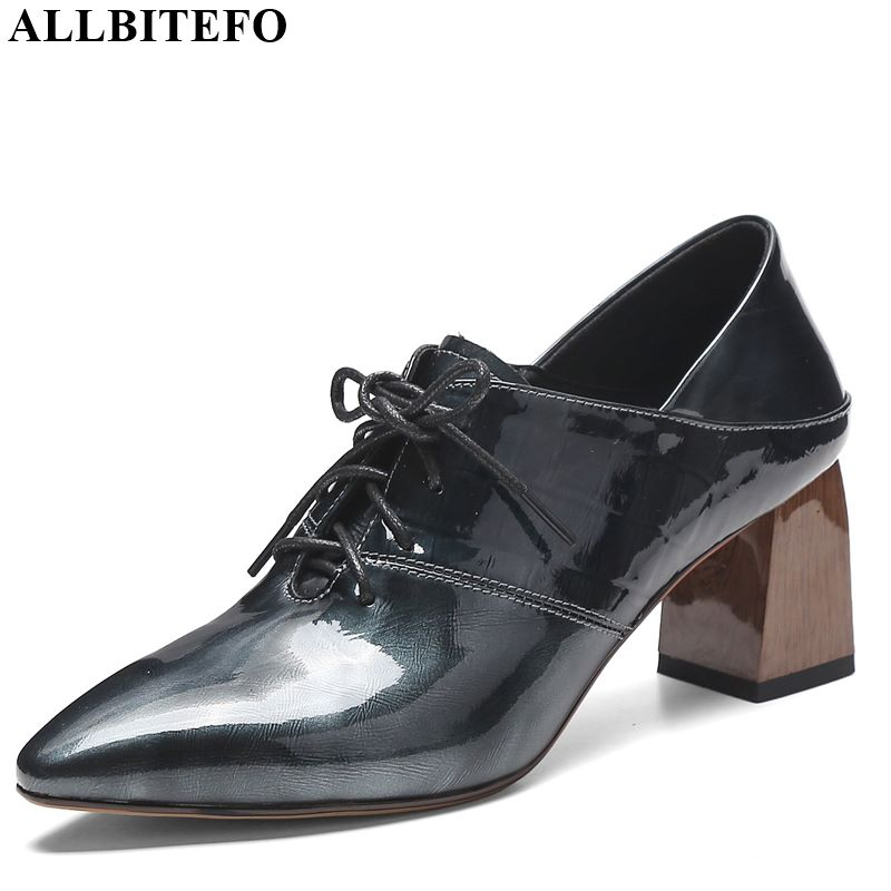 ALLBITEFO Hot Sale Genuine Leather Lace Up Square Toe High Heels Leisure Girl High Thick Heel Shoes Charming Women Shoes