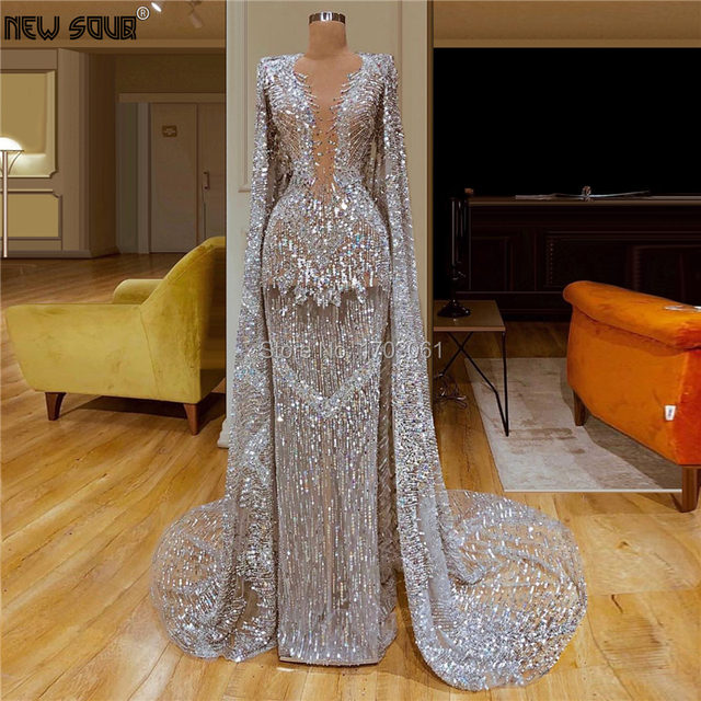 사용자 정의 만든 슬리버 긴 이브닝 드레스를 통해 볼 2020 vestido aibye 여성 couture 두바이 반짝이 댄스 파티 드레스 사우디 아라비아 파티