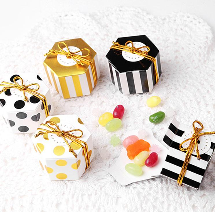 10 PCS Chocolate Box Candy Box Handmade Chocolate Box With Strip/Dotted Chocolate Container Chocolate Bag