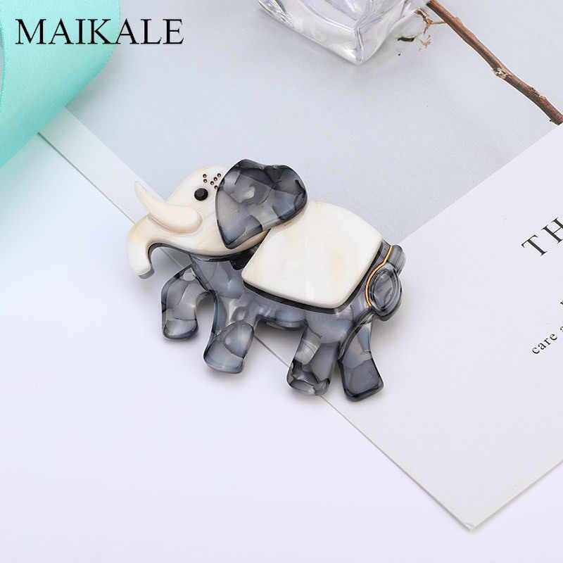 Maikale Fashion Acrylic Gajah Bros untuk Wanita Pria Big Resin Asetat Seluloid Hewan Bros Pin Perhiasan Hadiah Lucu Brocade