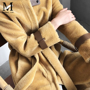 Image 4 - אמיתי כבשים פרווה ארוך מעיל מעיל נשים של חורף חם אמיתי כבשים פרווה מעיל גבירותיי 100% צמר מעיל