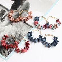 Модная цветочная ткань лепесток серьги-кольца для женщин Bijoux элегантный сплав Круглый круглый серьги Шарм Золотой Цвет Brincos