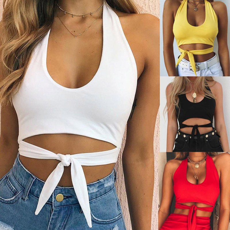 Women Sexy Low-Cut Vest Fashion Camisole Sleeveless Crop Tops Shirt With Sashes Women's Summer Short Tops  845566
