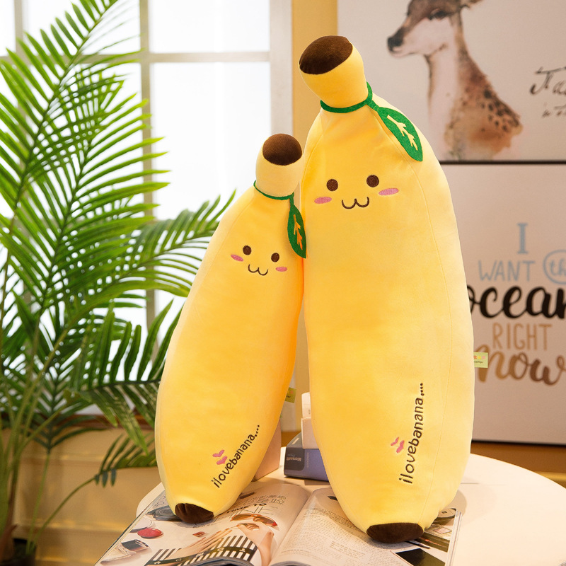 1pcs Soft Banana Plush Pillow Cushion Yellow Cute Banana Cartoon Fruit Plush Doll Toy Birthday Present To Children Friends
