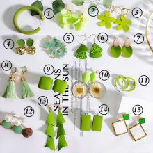 2020 New Korean Vintage Green Avocado Flower Earrings For Women C-shaped Geometric Tassel Dangle Drop Earrings Fashion Jewelry fashion new matte geometric tassel earrings