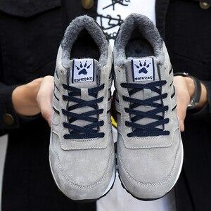 Image 4 - Hommes hiver baskets respirant chaud fourrure chaussures décontractées mâle en cuir à lacets chaussures plates anti dérapant imperméable à leau en plein air ajustement baskets