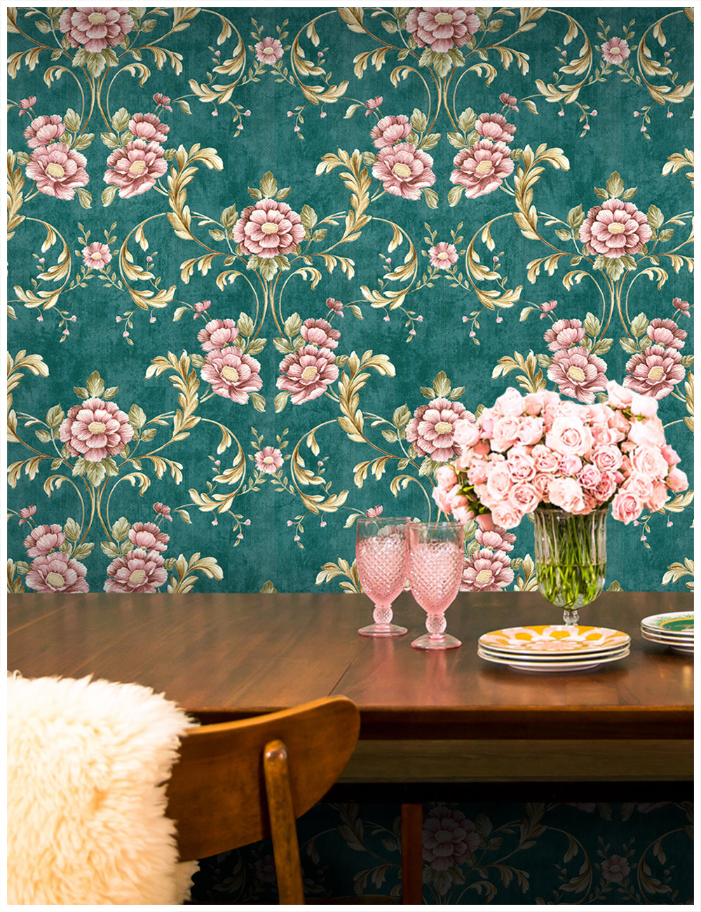Haokhome Vintage Floral Wallpaper Country Style 0 53m 10m Green