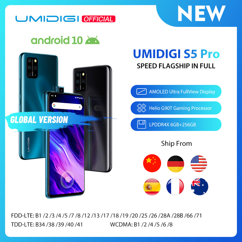 In Stock UMIDIGI S5 Pro Helio G90T Gaming Processor 6GB 256GB Smartphone FHD+ AMOLED In-screen Fingerprint Pop-up Selfie Camera(China)
