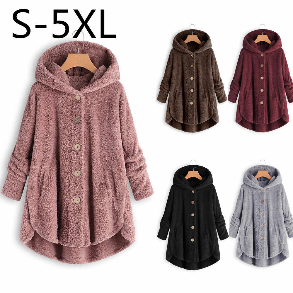 Wipalo Autumn Winter Women Hooded Jacket Casual Teddy Coats Hooded Solid Female Outwear Thick Warm Plush Coat Plus Size S-5XL