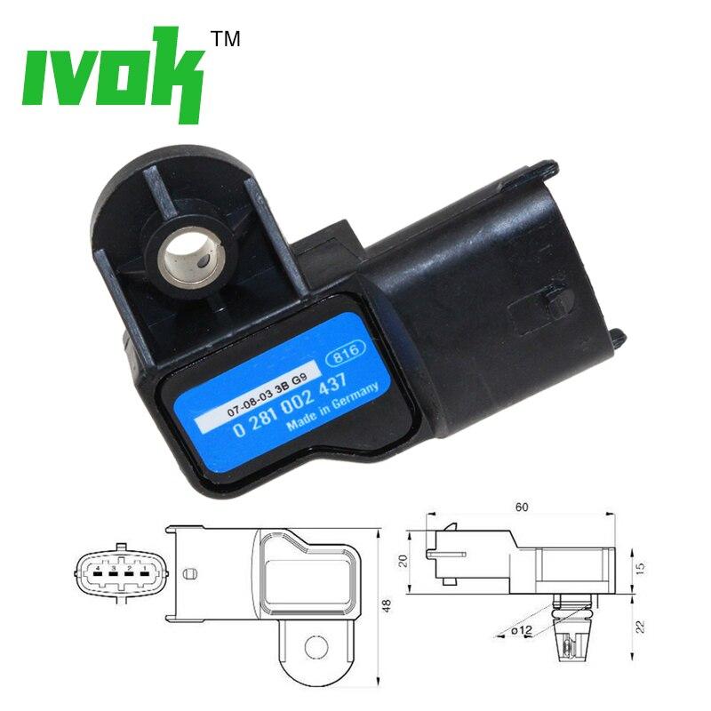 Orijinal Boost basıncı MAP sensörü Vauxhall Vectra Signum Zafira Astra Frontera 0281002437 93171176 24459853 0 281 002 437