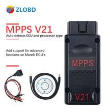 Interface de Diagnostic de voiture, MPPS V21, câble de Diagnostic de voiture, réglage des puces ECU, câble V16/V18/V21, EDC15/EDC16/EDC17, check sum, OBD2