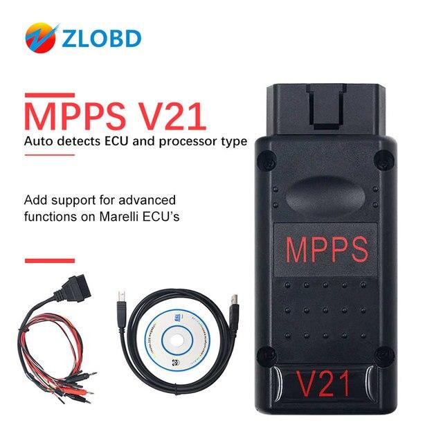 MPPS V21 ECU Chip Tuning  Interface  MPPS V16/V18/V21 For EDC15 EDC16 EDC17 CHECKSUM MPPS OBD2 Car Diagnostic Cable