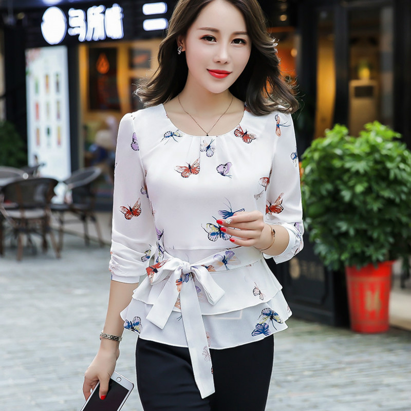 Butterfly Shirt OL Blouse Cherry White O-neck Long-sleeved Tops Spring Large Size 3XL Shirts Elegant Autumn New Feminino Camisa