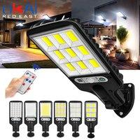Farola LED Solar impermeable con Sensor de movimiento PIR, lámpara de Control remoto inteligente de 1200W, luz de pared de seguridad para jardín al aire libre, 117COB