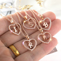 Womens Jewelry Name Initials Heart Pendant Necklace 26 Letters Zircon Love Necklaces Girls Gifts the First Letter Accessories