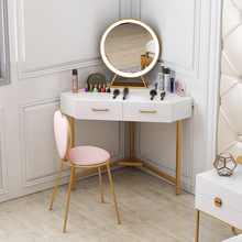 Northern Europe Red Iron Dresser Simple Princess Room Makeup Desk and Chair Combination Bedroom Corner Triangle Makeup Desk