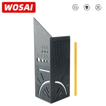 WOSAI Wood Working Ruler Multifunctional Angle Ruler 3D Mitre Angle Measuring Gauge Square Size Marking Gauging Carpenter Tool 3d mitre angle measuring ruler scribe mark line gauge carpenter ruler square layout miter 45 and 90 degrees woodworking scribe