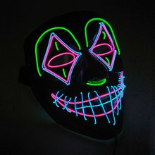 Luminescent Halloween EL Wire Light Up Glowing Scary Mask LED Cosplay Costume Mask For Festival Parties Costume Decor Hot drama performance decor neon led strip prom mask luminous christmas cosplay light up el wire costume mask for festival party