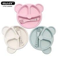3 pièces/ensemble de nourriture pour bébé nourriture couvert cuillère cuillère fourchette bébé ours manger résistant à la chaleur plat Plate Formation
