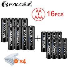 Palo 8 шт 12 в aa Аккумуляторная батарея 3000 мАч nimh перезаряжаемая