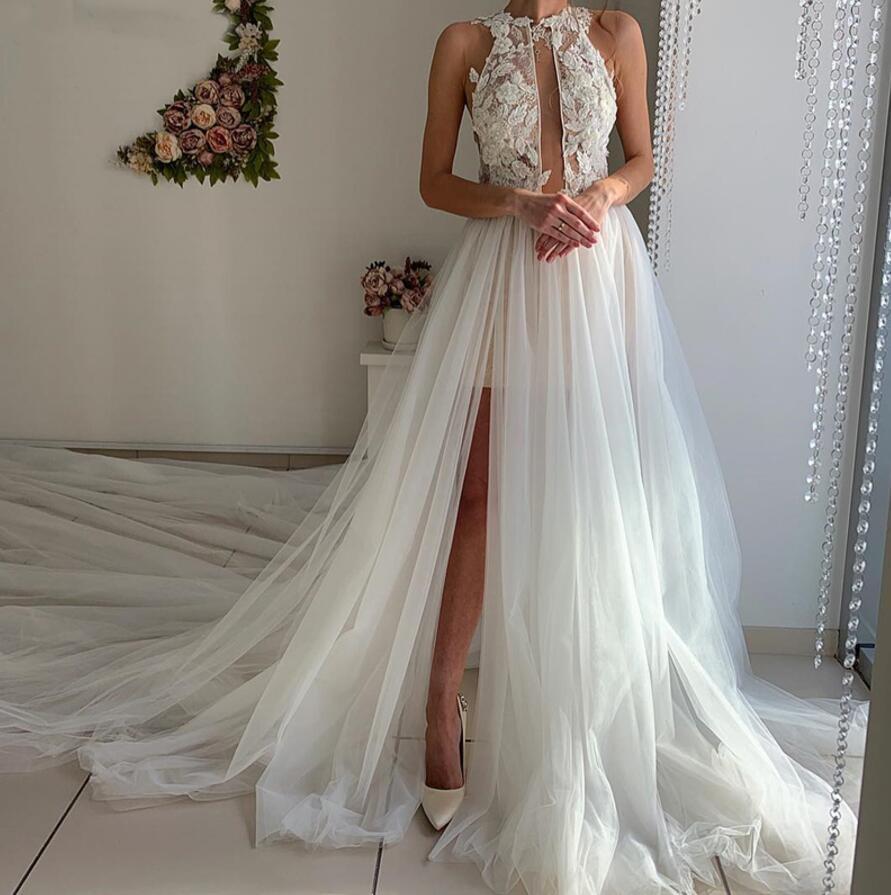 2020 Sexy Wedding Dresses Plus Size A Line Long Sleeves High Side Split Tulle Wedding Bride Gowns Chapel Train Vestido De Noiva