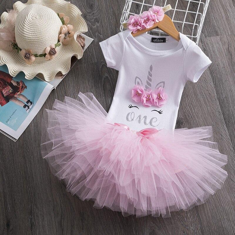 Um ano do bebê meninas roupas infantis do bebê 1 st conjuntos de festa de aniversário tutu bolo quebra recém-nascidos meninas vestidos batismo 12 m