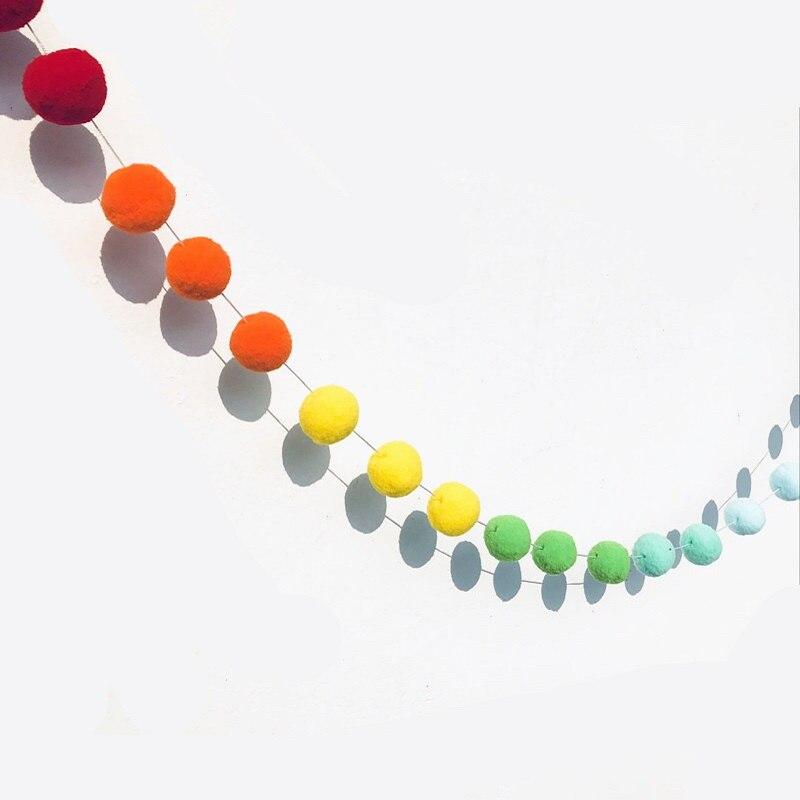 2.5Meter Colorful Pompom Pendant Garland Ins Nordic Series Wool Felt Ball String DIY Handmade Nursery Children Room Decor(China)