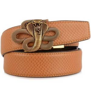 Image 5 - Men's Leather Ratchet Dress Belt with Automatic Buckle Fashion Men Automatic Buckle Belt Luxury Men`s Leather Belts alloy buckle