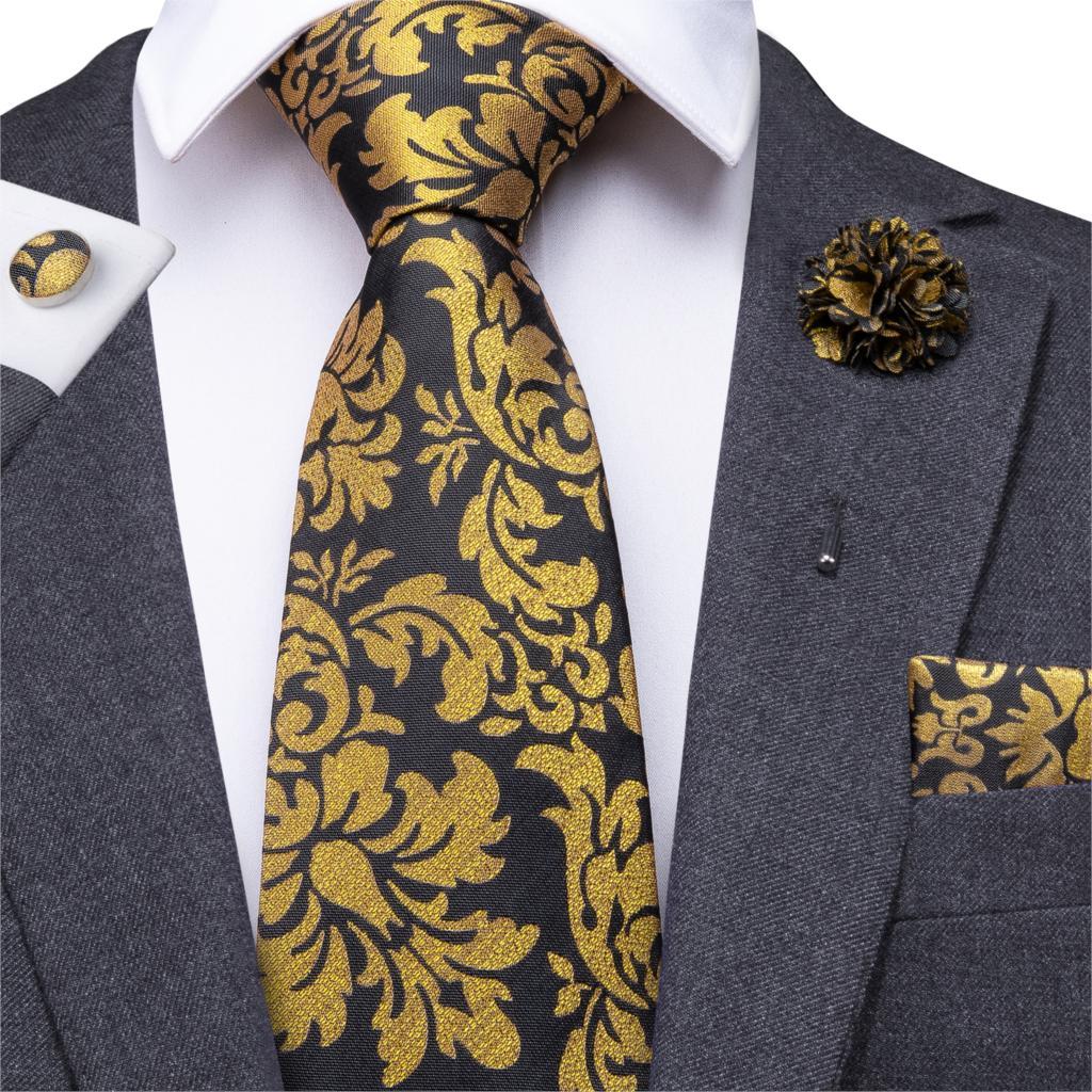 Hi-Tie Floral Ties For Men Black Gold Necktie Boutonniere Handkerchief Cufflinks Tie Set For Wedding Business Cravat Gift Box