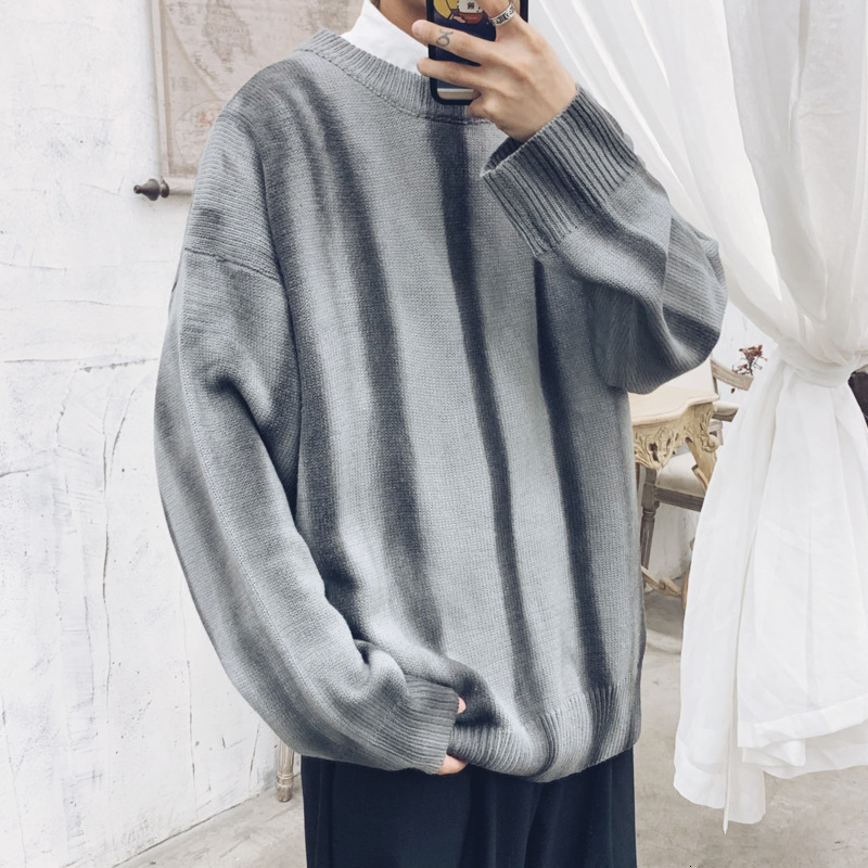Winter Striped Sweater Men's Warm Fashion Tie-dyed Casual O-neck Knitted Pullover Man Streetwear Wild Loose Long-sleeved Sweater