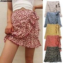2021 European-American Women's High Waist Skirt Flounce Casual Party Irregular Print Zipper Skirt