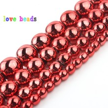 3/4/6/8/10mm Smooth Red Hematite Stone Beads Natural Round Spacer Bead For Jewelry Making DIY Bracelet Necklace 15