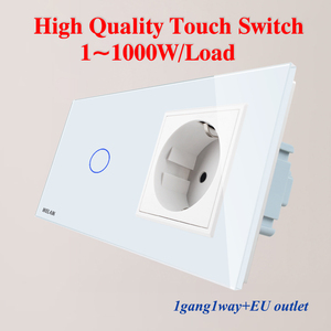 Image 2 - WELAIK 2Frame Crystal Glass Panel Wall Switch EU Touch Switch Screen EU Wall Socket 1gang 1way AC250V A29118ECW/B