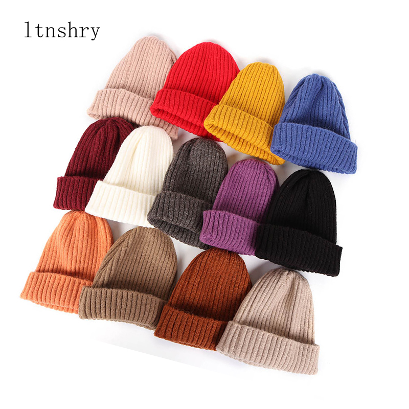 Cuff Beanie Watch-Cap Spring Skull Wool Warm Hats For Female Autumn Girls Women New