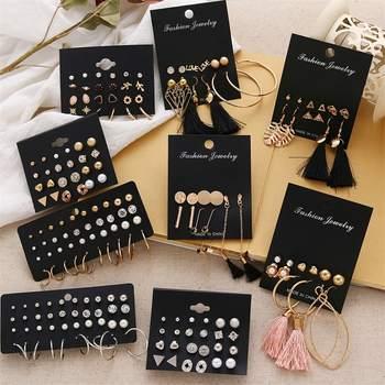 FNIO Womens Earrings Set Pearl Earrings For Women Bohemian Fashion Jewelry 2020 Geometric Crystal Heart Stud Earrings