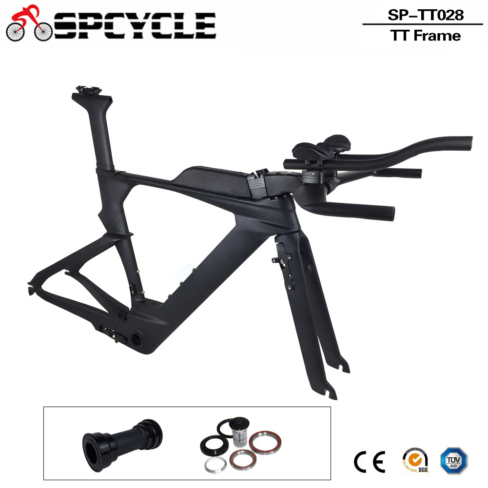Spcycle Di2 Carbon Time Trial Triathlon Frame 700C Aero Carbon TT Bike Frame Carbon TT Frameset Wth Free Brake Clipers