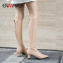 ENMAYER 2019 Winter Boots Women PU Knee-High Slip-On Basic Pointed Toe Thigh High Square Heels Shoes 34-43