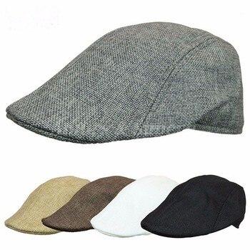 2020 Autumn Beret Caps Men Women Vintage News Boy Cap Cabbie Gatsby Linen Outdoor Hats Brand Sun Hat Unisex Duckbill Caps Linen