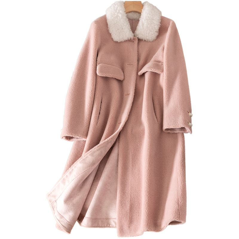 Real Fur Coat Wool Jacket Autumn Winter Coat Women Clothes 2020 Korean Vintage Sheep Shearling Suede Lining Women Tops ZT3899